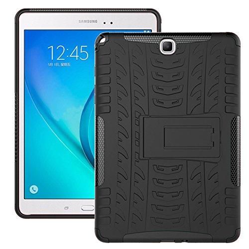 Cover Galaxy Tab A 9.7 2015 (SM-T550/SM-T555), Custodia Protezione Originale Tutto Nuovo 360 Gradi Resistente/PC + TPU 2-in-1/Heavy Duty Tough Armor/Supporto per Galaxy Tab A 9.7-Nero