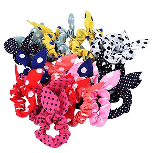 10 coleteros de tela con diseño de orejas de conejo y estampado de lunares, de Display08