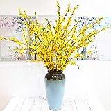 BHSHUXI Paquete de 4 flores amarillas de jazmín de invierno, tallo largo de flores artificiales para interiores y exteriores, decoración de la oficina del hogar