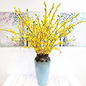 BHSHUXI 4 Pack Yellow Flowers Winter Jasmine,Long Stem of Jasmine Artificial Flowers for Indoor Outdoor Wedding Home Office Decoration