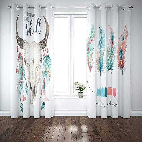 Pamime Blackout Window Curtain 52X63 Inch,Watercolor Bohemian Cow Skull Feather Western Mammals Boho Hipster Deer Boho Decoration Door Window Curtains 2 Panels for Bedroom Living Room
