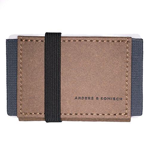 A&K Kleines Portemonnaie Braun/Grau - Kartenetui Herren, Slim Wallet mit Münzfach, Mini Geldbeutel Damen, Handarbeit aus Deutschland