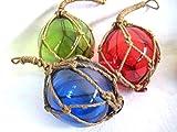 magicaldeco 3 X kleine Fischerkugel im Netz- rot, grün, blau- Maritime Deko- 5 cm