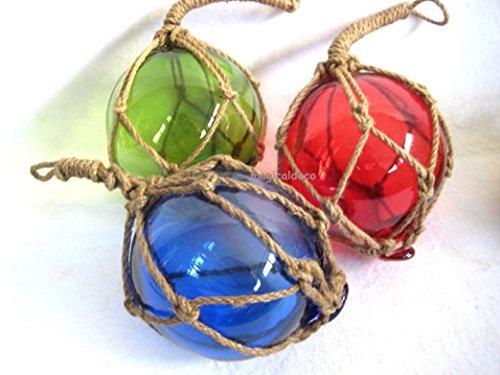 magicaldeco 3 X kleine Fischerkugel im Netz- rot, grün, blau- Maritime Deko- 7,5 cm