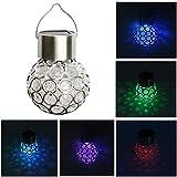 Nrpfall - Lámpara solar para jardín (1 unidad), diseño de bolas huecas de acero inoxidable, resistente al agua (600 mA)
