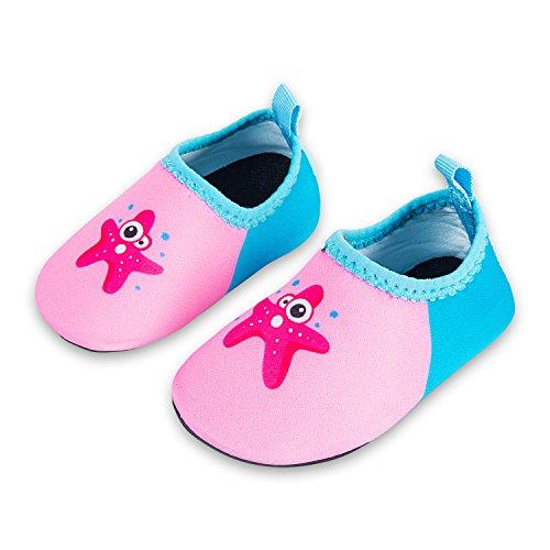 Laiwodun Kleinkind Schuhe Schwimmen Wasser Schuhe Mädchen Barefoot Aqua Schuhe für Beach Pool Surfen Yoga Unisex (7-20-21)