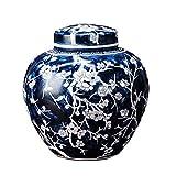 Yuxahiughp Jarrón de Flores Chino Pintado a Mano Pura Azul y Blanco de Porcelana de Porcelana de Almacenamiento de la decoración de la decoración de cerámica pequeño jarrón con la Tapa de