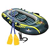 SOARRUCY Inflatable Boat Set for 3 Person - Inflatable Raft Boat Set with Pump and Oars for Boating and Fishing.