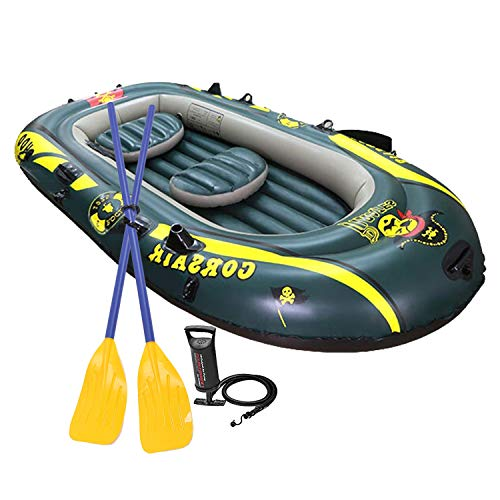 SOARRUCY Inflatable Boat Set for Adults - Inflatable Fishing Boat,3 Person Inflatable Kayak with Oars, Pump, Water Rafts for Lake, Pool