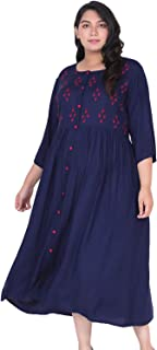 Lastinch Women's Rayon Embroidered A-line Dress