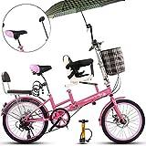 20' Padre-Hijo de Bicicletas, Plegable Ladies City para Bicicleta, Doble V de Frenos de Alto de Acero al Carbono con el bebé Madre de Bicicletas y la Bicicleta Plegable Bicicleta del niño,Azul