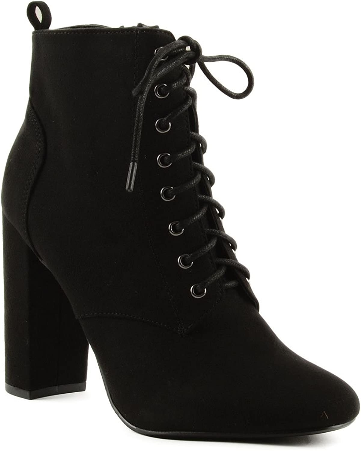 Delicious Women's Eminent Almond Toe Lace Up High Heel Ankle Boots