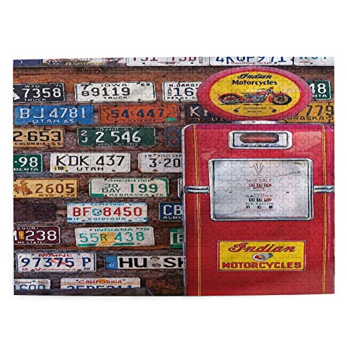 DAHALLAR Medium Size Jigsaw Puzzles 500 Pieces,Various Old American License Plates Behind Antique Gas Pump In Rural Utah, Funny Family Game Hanging Home Decor,20.4' x 15'