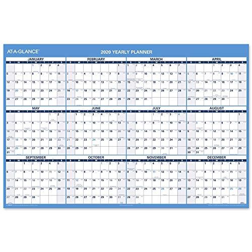 2020 Jumbo Dry Erase Calendar, AT-A-GLANCE Erasable Wall Planner, 48