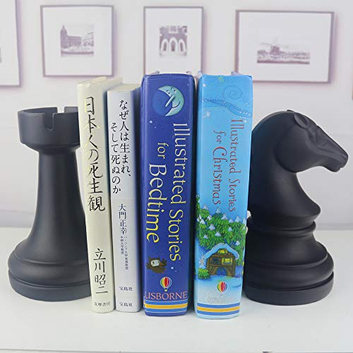 Product Image 6: Decorative Bookends, Unique Book Ends – Supports for Heavy Books, Home Decor Suitable for Office, Home, 7(L) x4(W) x7(H) inch, Black,1Pair/2Piece (Chess bookend)