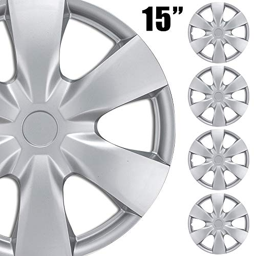 BDK (4-Pack) Premium 15' Wheel Rim Cover Hubcaps OEM Style Replacement Snap On Car Truck SUV Hub Cap - 15 Inch Set