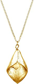14k Gold Over Sterling Silver Calla Lily Statement Pendant Necklace