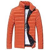 haoricu Women's Winter Cotton Jacket Men's Slim Fit Solid Color Standing Collar Zipper Coat Teen Winter Thick Coat Orange