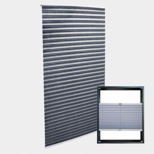 WilTec Estor Plisado Color Gris 75x200cm Persiana Interior Cortina Enrollable Celosía para Ventana