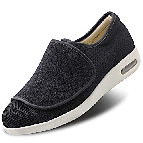 Men's Diabetic Shoes Proven Foot Pain Relief Memory Foam Knit Mesh with Fully Adjustable Closures, Wide Width Walking Orthopedic Edema Swollen Feet Arthritis Indoor/Outdoor Black