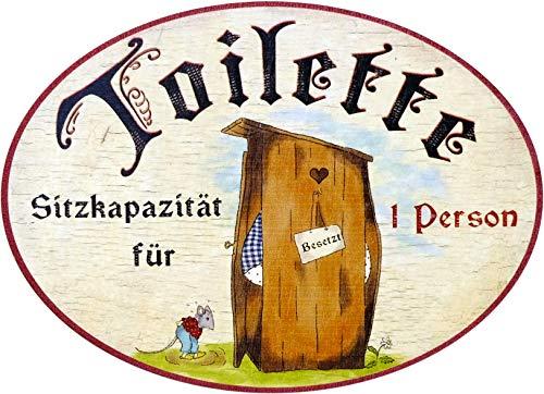 Kaltner Präsente Geschenkidee - Holz Türschild im Antik Design Motiv TOILETTE SITZKAPAZITÄT FÜR 1 PERSON (Ø 18 cm)