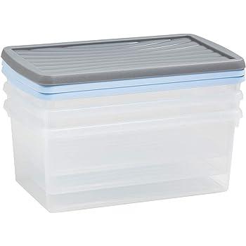 Wham – 13129 Caja Conjunto De Cajas para Almacenaje, 3 Unidades, Polipropileno, 38 x 23 x 23 cm, Transparente: Amazon.es: Hogar