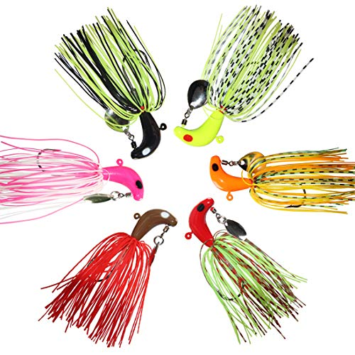 OROOTL Swim Jig Fishing Lures Spinnerbait, 6pcs Mix Color Metal Lead Fishing Jigs with Spinner Blade Rubber Skirts Swim Head Jig Lures for Bass Trout Salmon