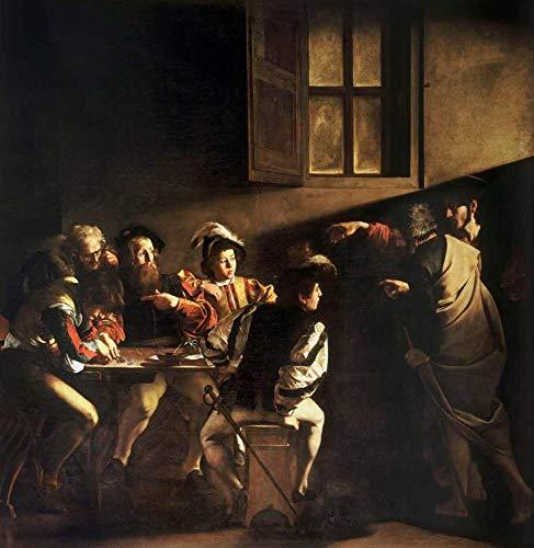 A Vocação de São Mateus (1599) de Caravaggio - 60x61 - Tela Canvas Para Quadro