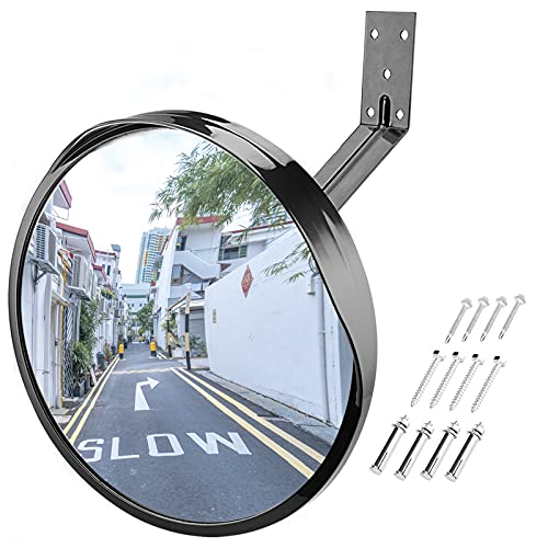 Convex Blindspot Mirror for Driveway Garage Park Assistant, 12 inch Adjustable Wide Angle View Curved Security Blind Spot Mirror by Angooni(Support Indoor and Outdoor)