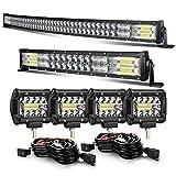 KEENAXIS 52 INCH 300W Curved LED Light Bar+ 22 INCH 120W Curved Light Bar+4inch 60w LED Light pods with Wiring Kit Combo