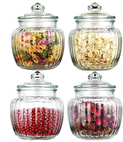 STAR - LINE Vorratsdosen aus Glas mit Deckel 4er Set - Luftdicht - 1,5L Große Vorratsgläser für Lebensmittel
