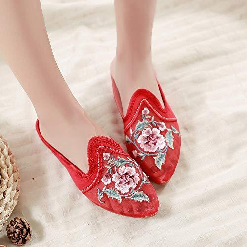 NHGFP Estilo Chino Peony Bordados Calados Señaló Zapatos Mangas De Gasa Pies Sandalias De Las Mujeres De Tela De Pedal (Color : Black, Size : 41)