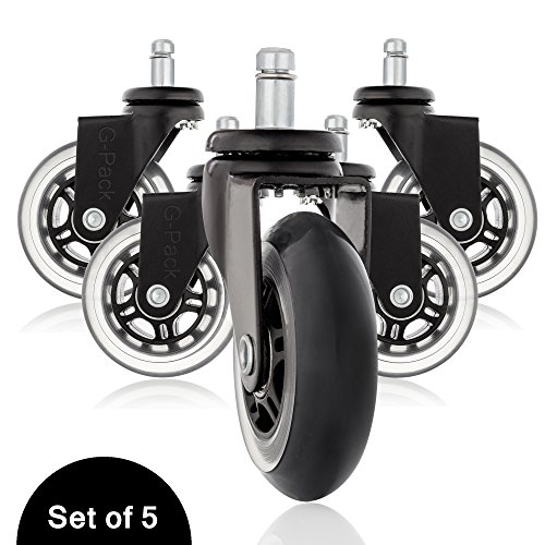 Office Desk Chair Replacement Caster Wheels Set, Heavy Duty Construction Protects Hardwood Floors & Carpets From Damage, 500lbs Capacity Smooth Rolling & Whisper Quiet Operation – Pack Of 5 (Black)