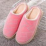 ypyrhh Zapatos de piel sintética de interior, zapatillas de pelo de suela gruesa, zapatillas de algodón caseras cálidas - Pink_36-37, zapatos de casa con forro polar coral acogedores con anti