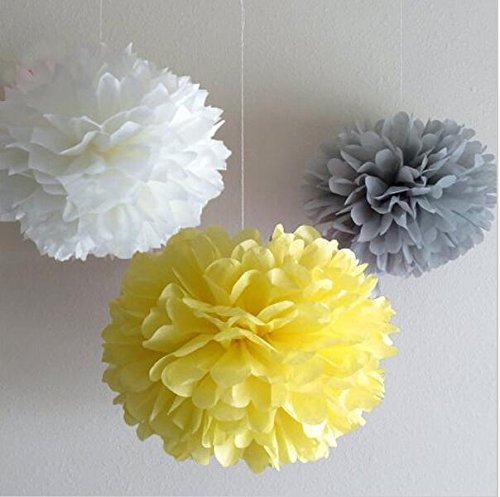 Since ® 12 Mixed White Gray Yellow Party Tissue Pompoms Paper Flower Pom Poms Wedding Birthday Party Christmas Girls Room Decoration SIC-01702