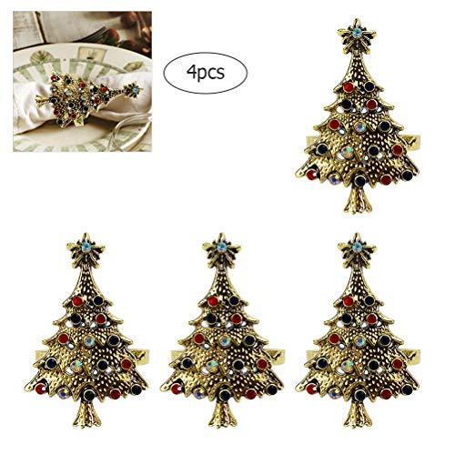 Goefly Juego de Anillos de servilleta, Anillos de servilleta de árbol de Navidad Decoración de la Boda...