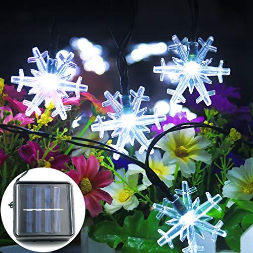 Mankinlu Solar Snowflake String Lights Outdoor, Solar Powered 31ft 50LED Outdoor String Lights Waterproof,Decorative Snowflake Light String for Patio,Garden,Yard,Christmas Tree,Valentine's Day White.