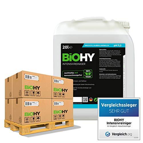 BiOHY Limpiador intensivo (24 x Bote de 20 litros) | Limpiador industrial de alto rendimiento | Limpiador básico ideal para limpiadores de alta presión (Intensivreiniger)
