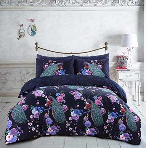 Night Comfort Eco Breathable Navy Floral Flower Bloom Peacock Cotton Blend Modern Duvet Cover Set With Pillowcases (Double)