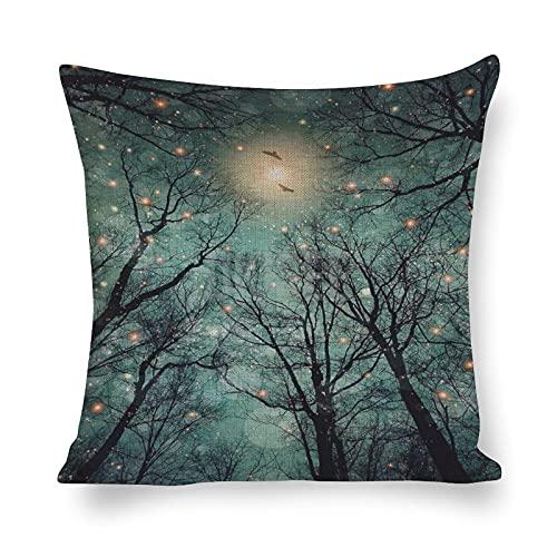 DKISEE - Federa decorativa in cotone e lino, motivo albero e via lattea 2, per soggiorno, divano letto, 45,7 x 45,7 cm