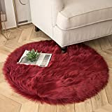 Ashler Soft Faux Sheepskin Fur Chair Couch Cover Area Rug for Bedroom Floor Sofa Living Room Dark Red Round 3 x 3 Feet