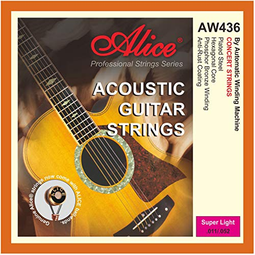 Alice Acoustic Guitar Strings .011-.052 Super Light Phosphor Bronze Winding with Gold-Plated Ball-End, 2 Sets