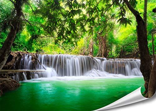 PMP-4life XXL Poster Wasserfall in Thailand Natur HD 140cm x 100cm Hochauflösende Wand-dekoration Bild für Wandgestaltung Wandbild | Fotoposter Landschaft Bäume Wasser Dschungel |