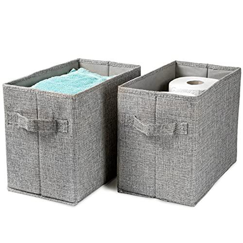 Hausfelder Aufbewahrungskorb 2er Set – Klopapierkorb, Zeitungskorb, Bücherkiste – Badezimmer Kinderzimmer Korb hoch (2 Stück)
