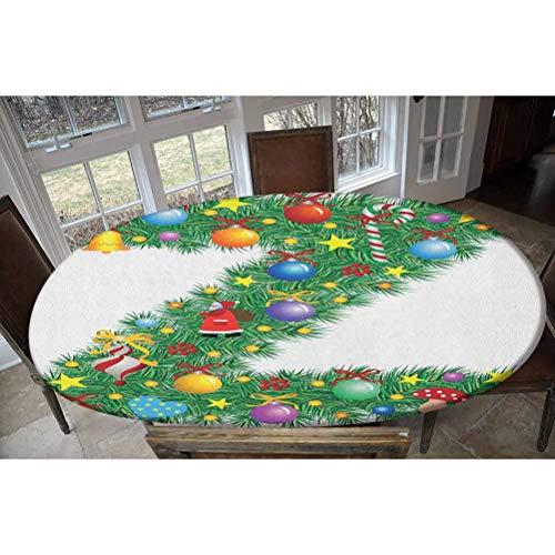 Mantel ajustable de poliéster elástico, diseño de letra Z con adornos coloridos de Navidad, Papá Noel, rectangular, ovalado, para mesas de hasta 48 pulgadas de ancho x 68 pulgadas de largo.
