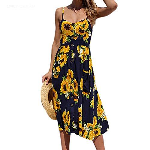 ONLY CHARM Femmes Fleurs Robe de Soirée, Longue Robe de Plage d'été Bohemian sans Manches Dos Nu Imprimee Grande Taille, Bleu Foncé,M