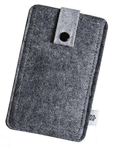 Dealbude24 Filz-Tasche passend für Motorola Moto X Force mit Hülle, Hochwertige Handy-hülle, Schutz-Tasche mit Herausziehband & Drucknopf, Etui stoßfest, weich & reißfest in Grau - XL