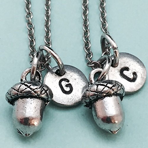 friend sister Nature lover jewelry Gift for mom Acorn jewelry set Silver acorn earrings and chain necklace