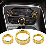Voodonala Air Conditioner Switch CD Button Knob for Dodge Challenger Charger Chrysler 300 300s 2015-2019, for RAM 2013-2018 (Aluminum Alloy Gold)