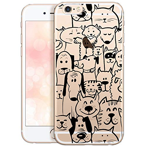 QULT Carcasa para Móvil Compatible con iPhone 6S, iPhone 6 Funda Transparente con Dibujos Silicona Suave Bumper Teléfono Caso para iPhone 6, 6S Animales(DESECHABLE)